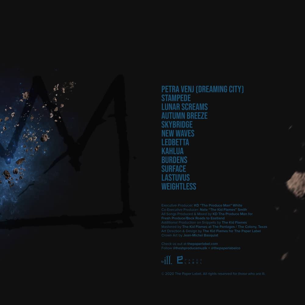 K.D. Tha Produce Man Lunar Supremacy back cover design. Artwork by The Kid Flames.